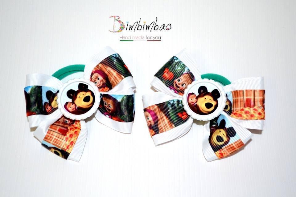 Masha e orso codini fermagli in grosgrain ribbon nastro bianco fermacapelli hair bow cartoni animati fiocco bambina bimba