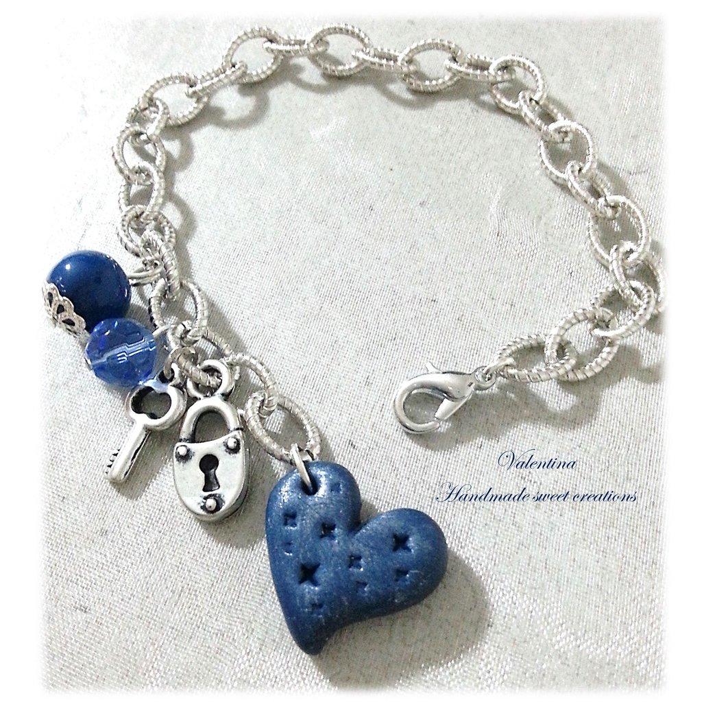 Bracciale cuore blu chiave e lucchetto fimo