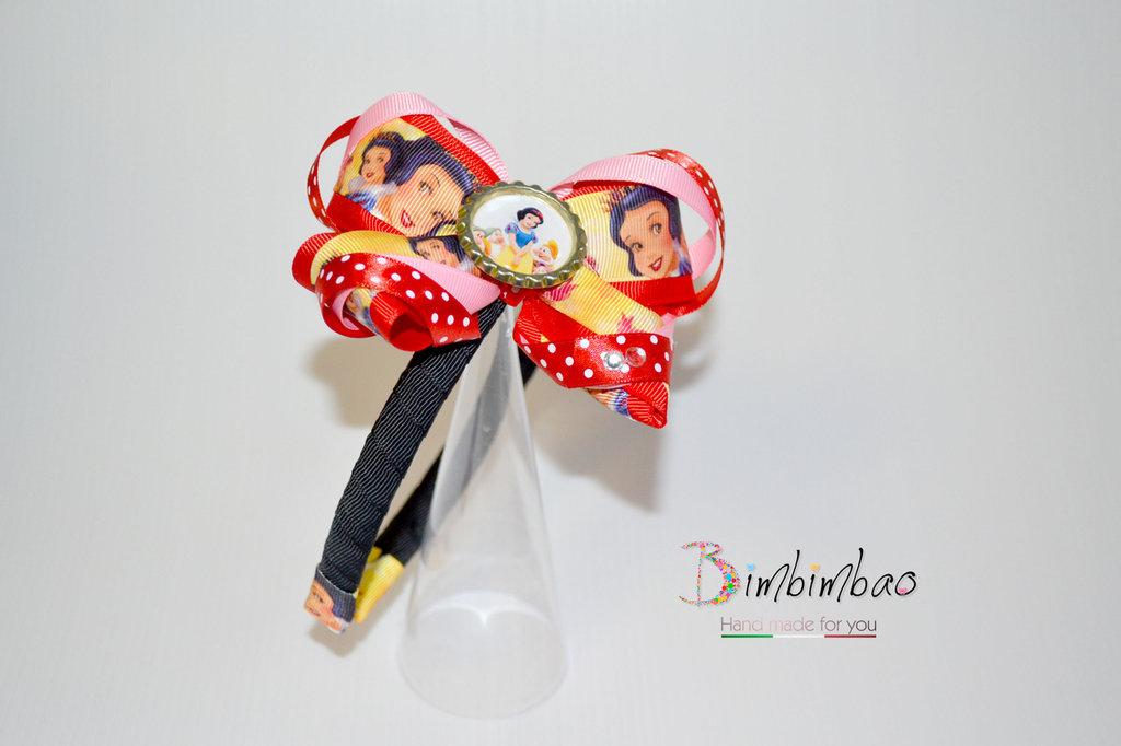 Cerchietto accessori bambina corona coroncina frontino Biancaneve Snow white grosgrain ribbon fiocco capelli hair bow