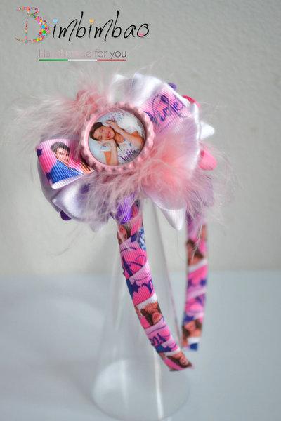 Cerchietto accessori bambina corona coroncina frontino ispirato Violetta fiocco capelli