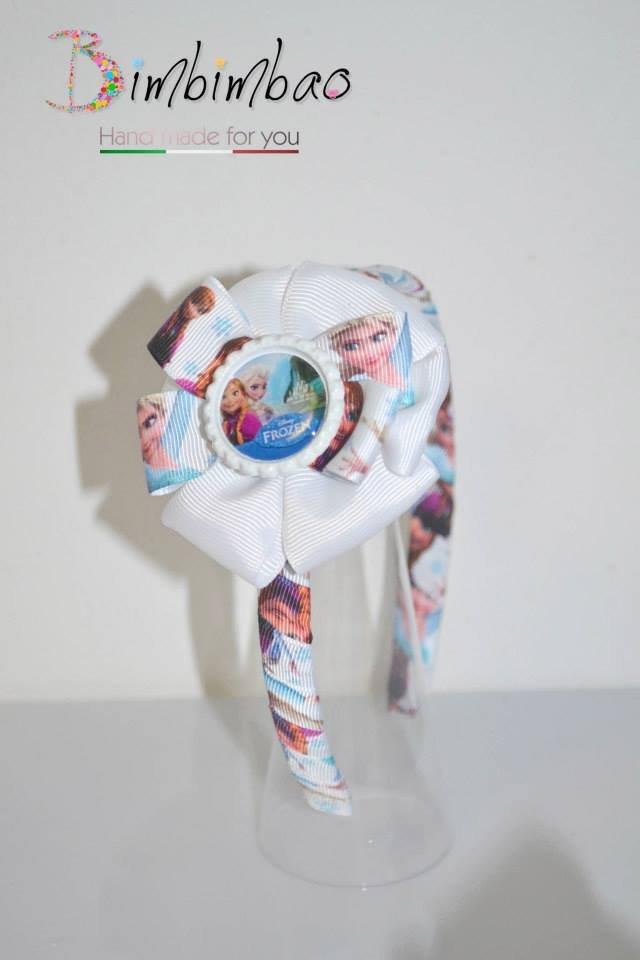 Cerchietto accessori bambina corona coroncina frontino Frozen Elsa Anna grosgrain ribbon fiocco capelli  hair bow
