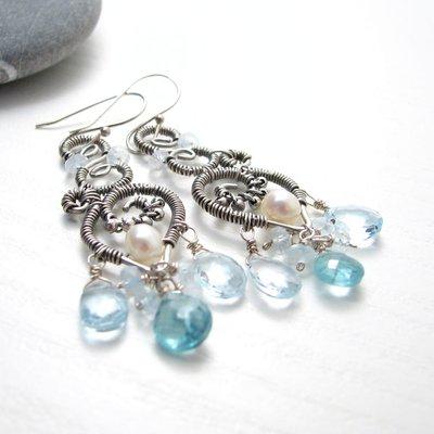 Orecchini pendenti con pietre azzurre, orecchini grandi, orecchini in argento con topazio blu - Ocean Blu