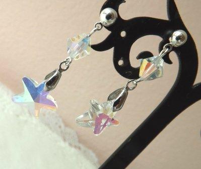 Orecchini con ciondolo a stella in cristallo trasparenti