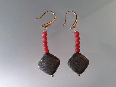 orecchini pirite e corallo
