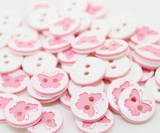 Set 8 bottoni - Farfalla rosa