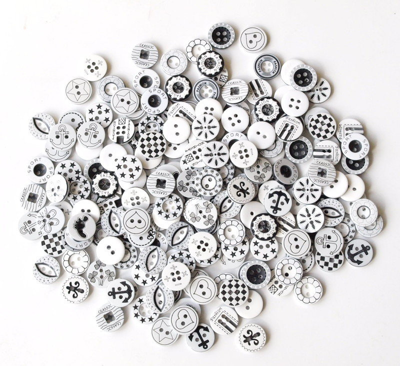Mix 10 bottoni 13 mm - Black