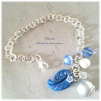 Bracciale foglia blu  fimo