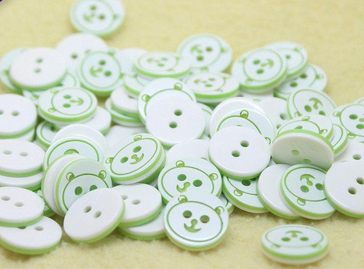 Set 8 bottoni 13mm - Orsetto verde