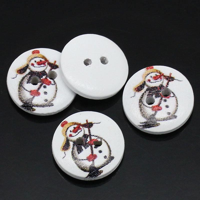 Set 8 bottoni 15mm - Snowman