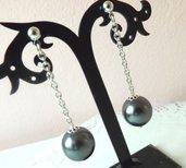 Orecchini con perla cerata grigia idea regalo