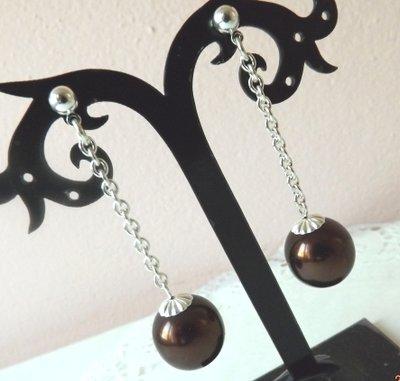 Orecchini con perla cerata marrone idea regalo