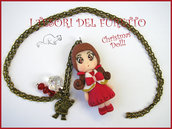"Collana bambolina ""Christmas Doll Natale Mod. Polly mantella rossa bianca"" fimo cernit bijoux natalizi idea regalo bambina"