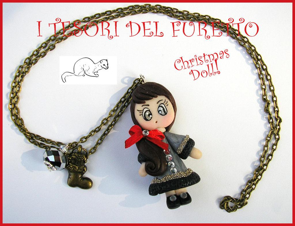 "Collana ""Christmas Doll Natale Mod. Nina cappotttino argento nero con strass"" fimo cernit collana bambina"