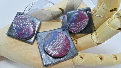 parure moderna argento e viola