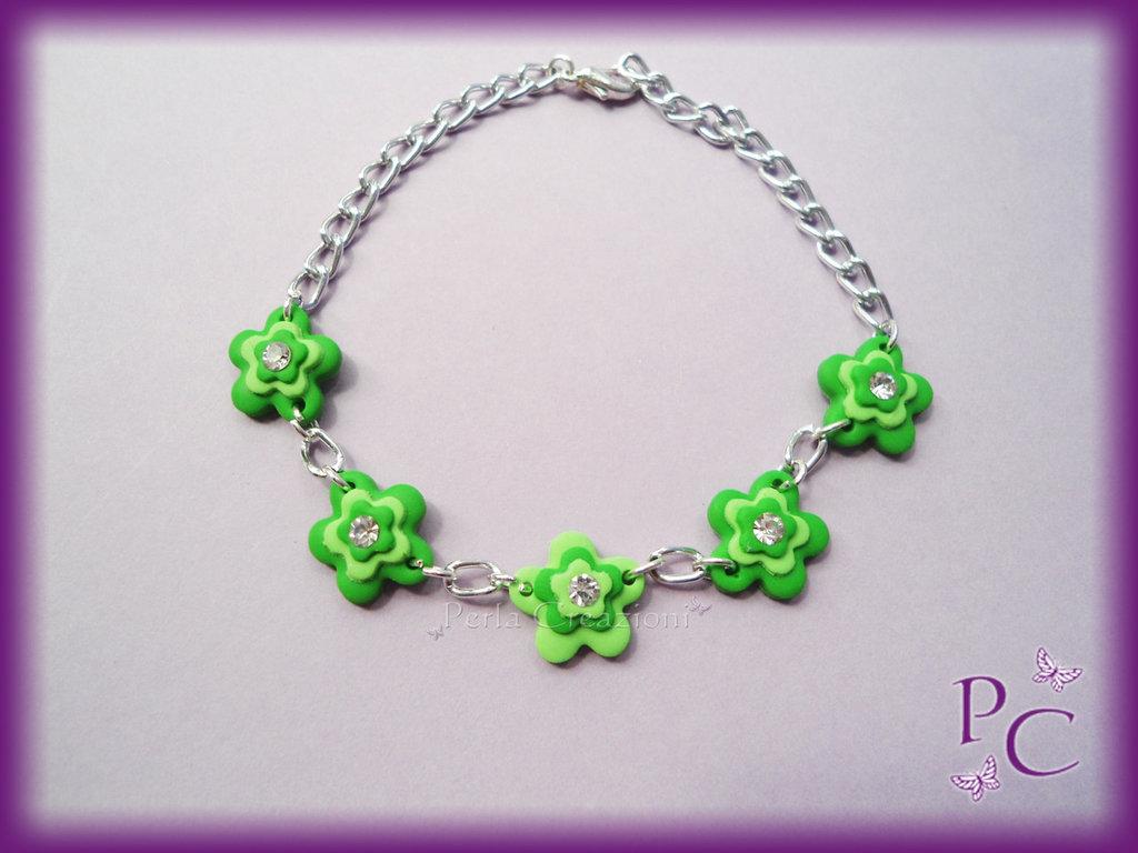 Bracciale Flowers - colore verde