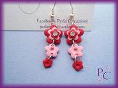 Orecchini pendenti Flowers - colore rosso