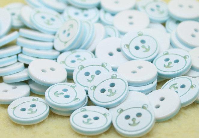 Set 8 bottoni - Orsetto azzurro