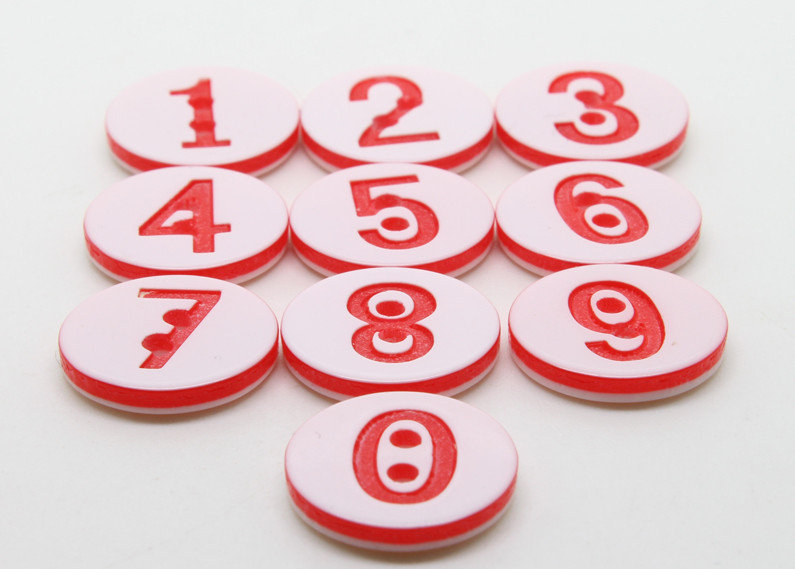 Set 10 bottoni - Numeri