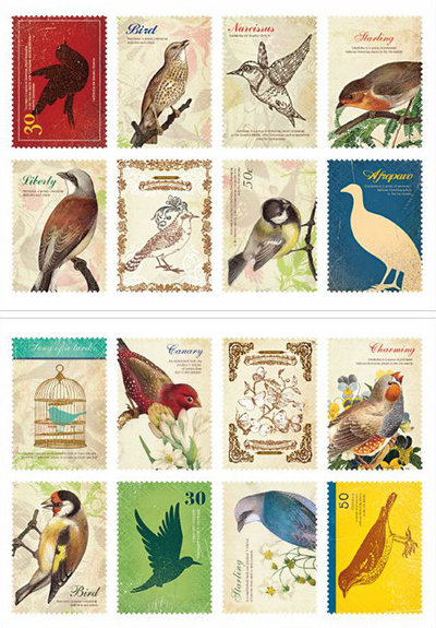 Mix 16 francobolli - Bird