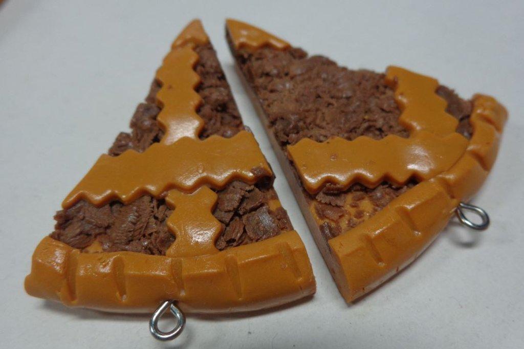 2 Ciondoli in Fimo Fette di Crostata di Crema al Cioccolato