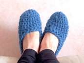 PANTOFOLE IN LANA TURCHESE A CROCHET (ART.53)