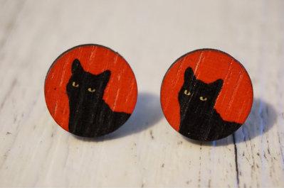 Orecchini Gatto nero in legno - un aiuto agli animali abbandonati, negozio solidale pro cani e gatti di Treviso