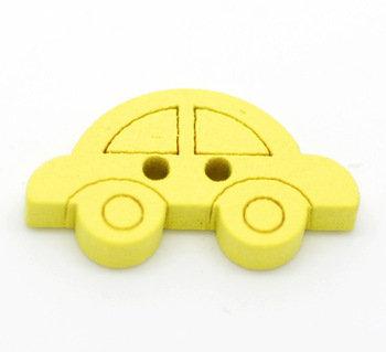 Set 6 bottoni - Macchina gialla