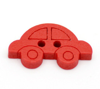 Set 10 bottoni - Macchina rossa