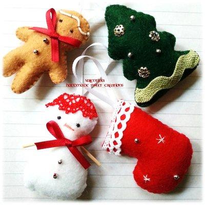 Decorazioni natalizie pannolenci feltro omino focaccina, pupazzo di neve, calza, albero
