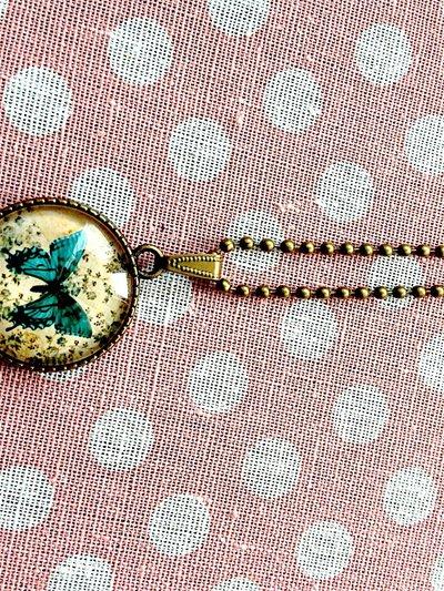 Ciondolo vintage farfalla,double face uccellini in bronzo