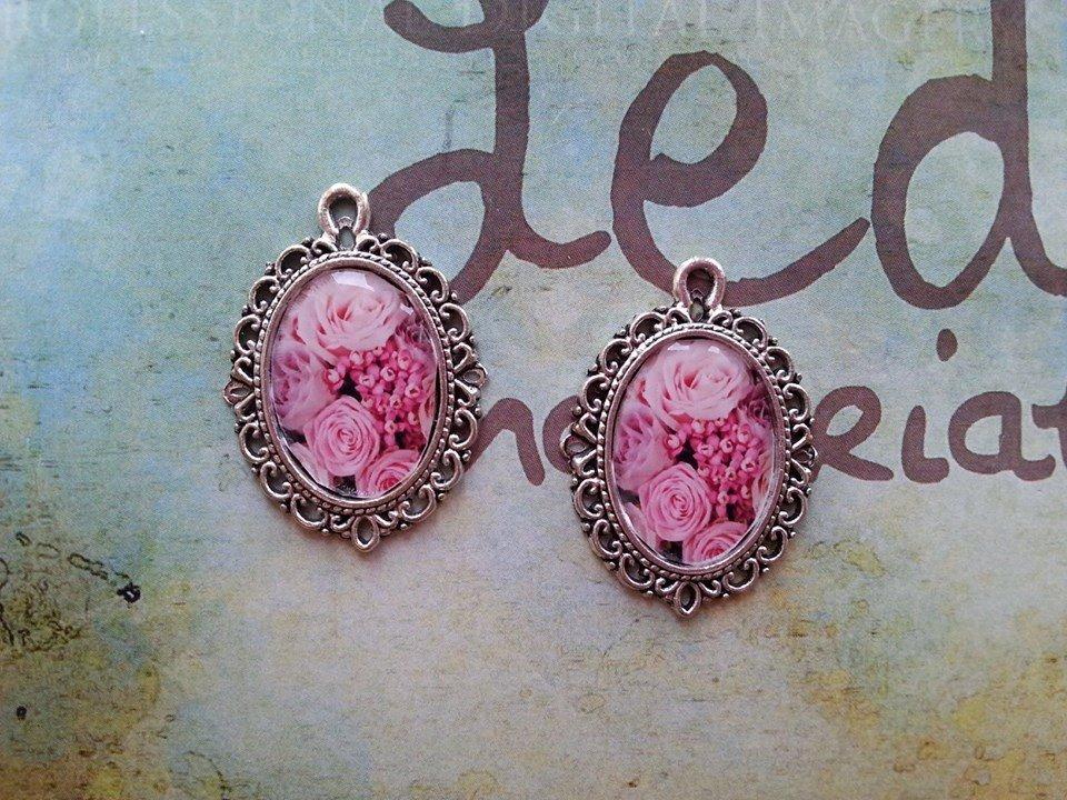 Cammeo argento 29x21mm - fiori rosa