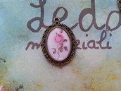 Cammeo bronzo 3x4cm - rosa