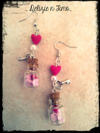 Orecchini Pendenti Bottiglietta con Cuori in fimo  Bottle Pendant Earrings with Hearts polymer clay