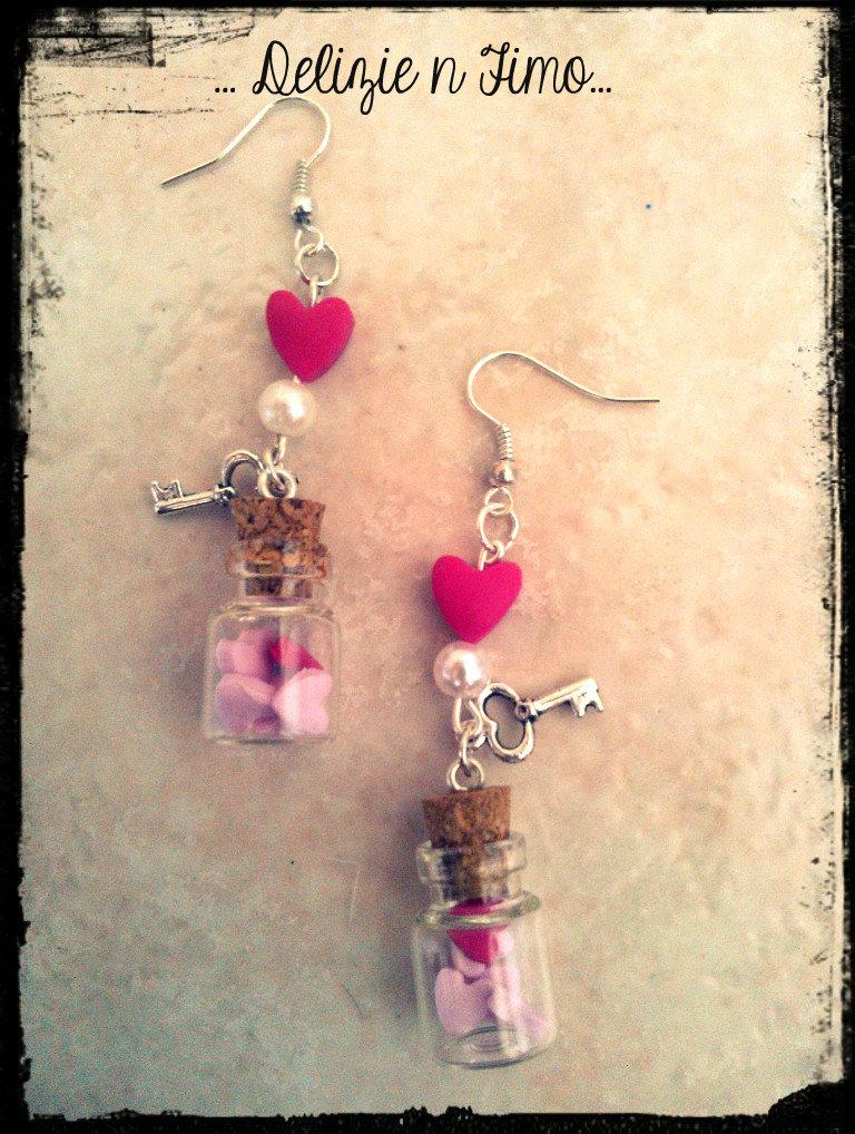 Orecchini Pendenti Bottiglietta con Cuori in fimo  Bottle Pendant Earrings with Hearts polymer clay