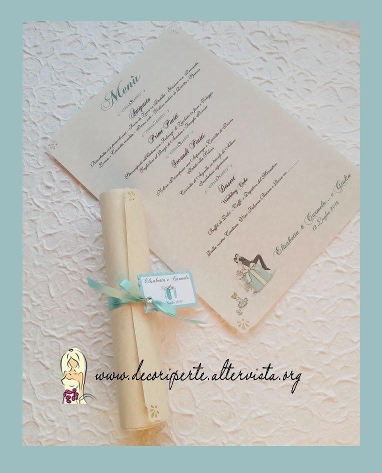 Pergamena Matrimonio Simbolico : Menu matrimonio pergamena feste di
