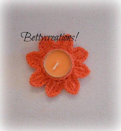 Portacandele Uncinetto Fiore Arancione