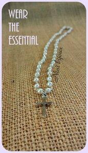 Collana rosario madreperla croce essential