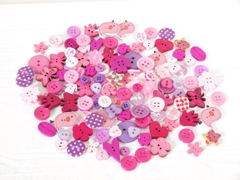 Mix 50 bottoni - Pink