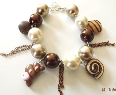 Bracciale con perle,dolcetti,yo yo,girella,brioche,macaron in fimo idea regalo