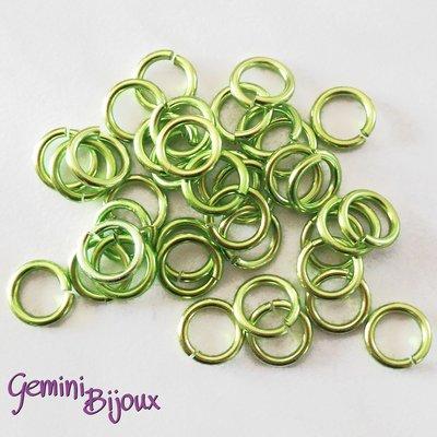 LOTTO 50 ANELLINI ALLUMINIO PER CHAIN MAILLE – 10mm – Green