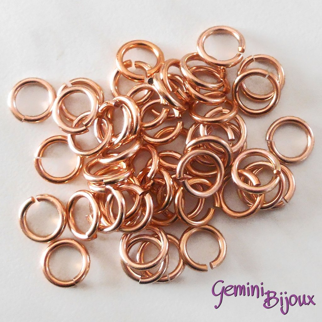 LOTTO 50 ANELLINI ALLUMINIO PER CHAIN MAILLE – 10mm – Copper