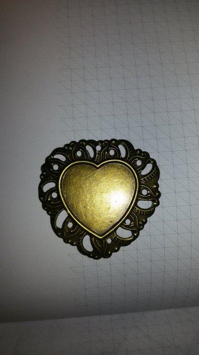 2 Cammei cabochon cornice cuore 3.2x3.5 cm