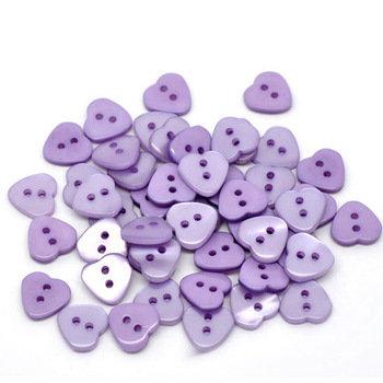 Set 10 bottoni - Cuori viola