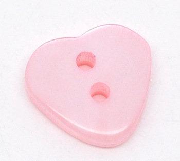 Set 10 bottoni - Cuori rosa