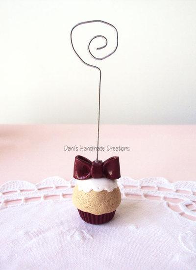 Portafoto / segnaposto cupcake con fiocco in fimo