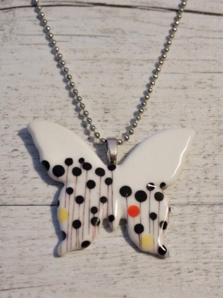 Collana minimal butterfly in ceramica stampata fatta a for Oggetti minimal