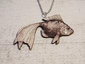 Collana Pesce in legno fatta a mano - un aiuto agli animali abbandonati, negozio solidale pro cani e gatti