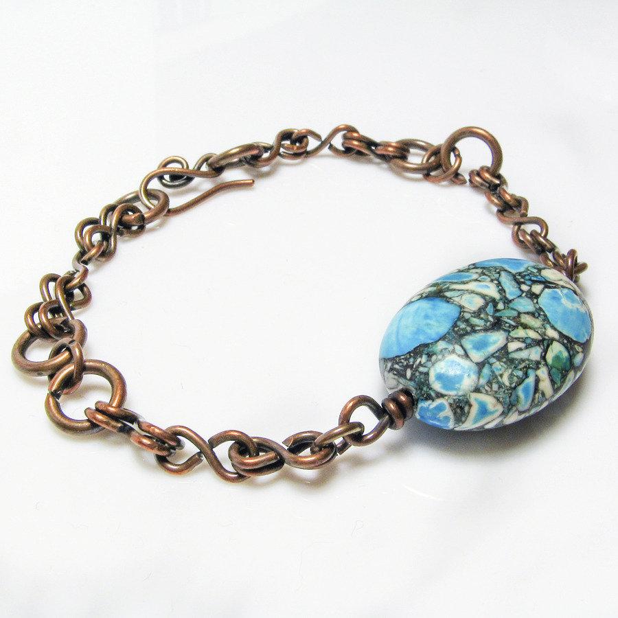 Bracciale con pietra blu azzurra, bracciale in rame - disponibile sulla richiesta - Blu stone bracelet II