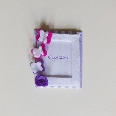 Bomboniere con farfalle e farfalline in feltro: la cornice calamita per la foto della vostra bambina!