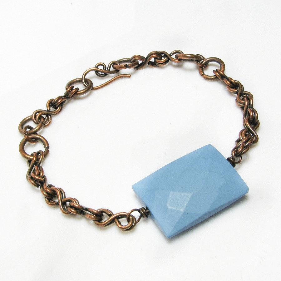 Bracciale con pietra blu azzurra, bracciale in rame - disponibile sulla richiesta - Blu stone bracelet I